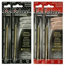 """Four Fisher Space Pen """"SU"""" Series Universal Ink Refill Pack / 2 Black & 2 Red"""