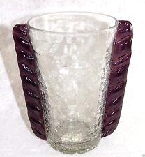 "Blenko Hand Blown Amethyst Crackle Winged Vase 7 3/4"" tall Mid Century Glass"