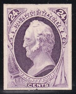 US STAMP #164P4  1874-75  24C  PLATE PROOF ON CARD STAMP PURPLE