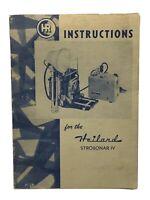 Vintage 1952 Instructions for the Heiland Strobonar IV Form 1738-1