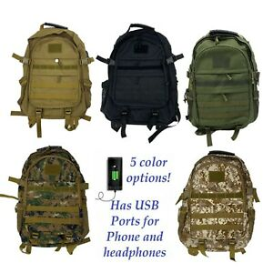 Tactical Military Style Backpack Ruck Hiking Audio USB Ports Laptop Travel Bag