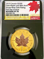 2019 CANADA $200 Rose Gold Maple Leaf 40th Anniversary NGC Reverse PF70 Rare!!