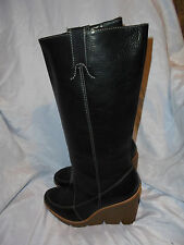 MICHAEL KORS WOMEN'S BLACK LEATHER PULL ON KNEE BOOT SIZE UK 8 EU 41 US 11W VGC