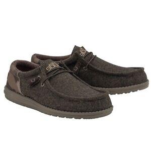 Hey Dude Men's Wally Funk Wool Dark Brown Camo Shoes 110411564