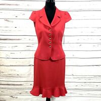Tahari Asl Women's 2PC Skirt Suit Blazer Buttons Red Retro size 4 NWT