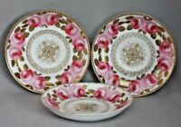 Antique Vintage 3 DOUBLE PINK ROSE SAUCERS with GOLD