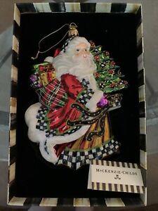 MacKenzie-Childs Glass Ornament - DASHING SANTA