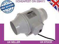 In line duct fan extract 4'' Hydroponics Bathroom  Kitchen Extractor Fan UK PLUG