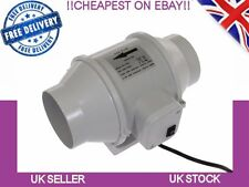 In line Mixed Flow 4'' Hydroponics Bathroom Extractor Fan