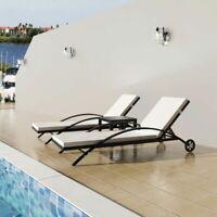 vidaXL Sun Lounger Set Poly Rattan Wicker Black Outdoor Seating Bed Garden✓