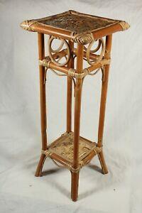 Vintage Mid Century Bamboo Plant Pot Stand Side Table Cane Rattan Boho Tiki RARE