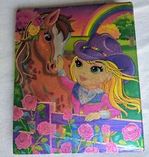 Lisa Frank Vtg 3 Ring Binder Folder Rainbow Chaser Horse Girl Metallic Pink