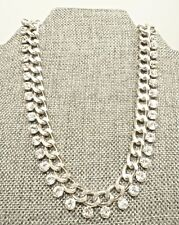 A57) Beautiful Crystal & Silver-tone Choker Style Necklace