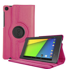 New Google Nexus7 2nd.360 Swivel PU Leather Case NEW 2013 - Hot Pink