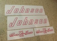 Johnson Vintage Outboard Motor 5-1/2 HP Decal Kit FREE SHIP + Free Fish Decal!