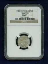 NETHERLANDS HOLLAND  1750  2 STUIVERS SILVER COIN, NGC CERTIFIED AU-55