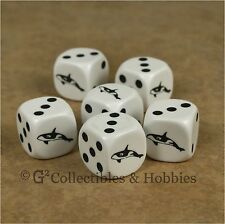 NEW Set of 6 Orca Killer Whale Game Dice Sea Animal Bunco RPG D6 Koplow