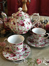 Chintz Tea Set, Tea For Two: 6 Cup Porcelain Tea Pot and 2 Adult Cups and Saucer