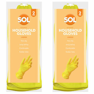 4 Pairs Large Household Rubber Gloves Non Slip Long Sleeve Washing Up Cleaning