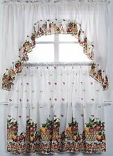 Cali Linens 3Pc Printed Kitchen Curtain Window Treatment Set Curtain Tier