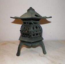 "CAST IRON ORIENTAL PAGODA YARD LANTERN GREEN PAINT 11"" TALL 9 1/2"" WIDE"