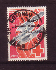 More details for benin 1989 red cross overprint used...sg1112??......scarce stamp...