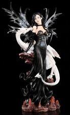 Elfen Figur - Große Dark Fairy Elain mit weißem Drachen - Fee Fantasy Begleiter