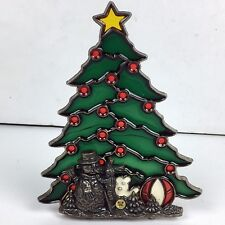 Christmas Tree Stained Glass Tea Light Candle Holder Snowman Holiday
