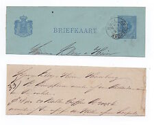1884 NETHERLANDS Cover Piece AMSTERDAM Stationery Postcard Cut Out