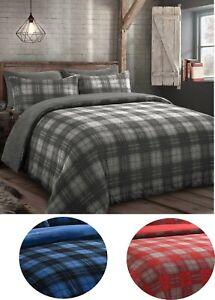 Teddy Bedding Check Duvet Cover & Pillowcase Set Winter Fleece Thermal Cosy Set