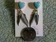 Turquoise Hearts w/Double Feather Earrings in Sterling Silver