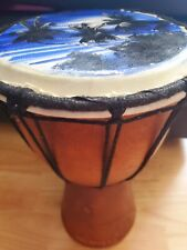 More details for original wood darbuka dohola doumbek drums from maldives,beautiful beach scene
