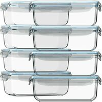 16 pc Glass Food Storage (8 Containers with 8 Airtight Lids) With BONUS 14 Me...
