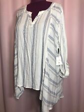 New With Tags-Coral Bay 3X Blue Beige stripes thin material Blouse Top Shirt KK6