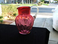 ANTIQUE VICTORIAN HAND BLOWN CRANBERRY GLASS PITCHER, Hand Painted Flowers