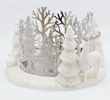 1 Bath & Body Works SNOWY SCENE Deer Snow 3-Wick Large Candle Holder 14.5 oz