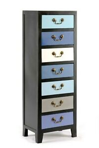 Blue Tall Cabinet with 7 Drawers Wooden Cupboard Storage Organiser Shabby Chic