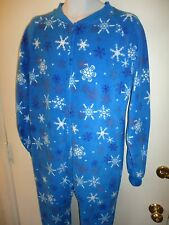 "Blue Holiday Snowflake Footed Pajama Fleece Heavy Winter 5'3""-5'6"" 145-200 lbs"