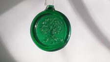 "Hanging Glass Ornament ~Tree of Life ~ Green 3.75"" Diam. ~ Garden Window Decor"