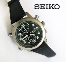 Seiko 7T32-7D90 men's military style quartz watch chronograph date alarm