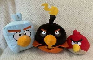 Angry Birds In Space Plush Lot of 3 Red Black Blue Ice Bird Cube Bomb Firebomb
