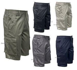 Mens Cargo Shorts 6 Pocket Holiday / Work Shorts Elasticised Waist Combat