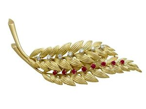 Vintage Ruby and Diamond Yellow Gold Leaf Brooch