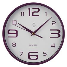 25.4Cm Dia Rnd Wall Clock Purple Lrg/Sml Numbers