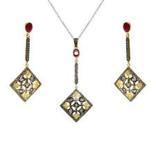 Gemstone Rhodium Plated Rhombus Silver Women Jewelry Dangle Earring Pendant Set