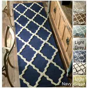 nuLOOM Hand-hooked Alexa Moroccan Trellis Wool Runner (2'6 x 8') Ivory/Brown