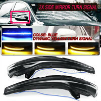 2x Dynamic Blue + Amber LED Side Mirror Turn Signal Light For Mercedes C E S