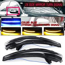 2x Dynamic Blue + Amber LED Side Mirror Turn Signal Light For Mercedes C E S GLC
