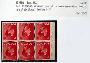 GB 1936 Ed.VIII - 1d Inverted/WMK Booklet Pane U/M As Described DM107