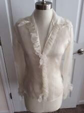 Ralph Lauren Black Label Ivory/Cream Sheer Silk Ruffled Fitted Button Blouse sz8